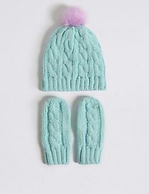 Kids' Pom Pom Hat & Mittens Set