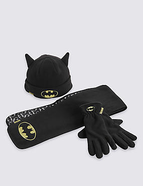 Kids' Batman™ Hat, Scarf & Fleece Gloves Set