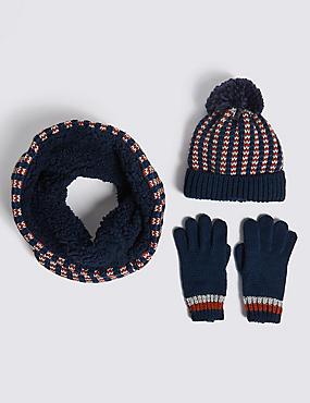 Kids' Hat, Snood & Gloves Set, NAVY MIX, catlanding