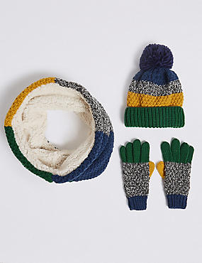 Kids' Hat Snood and Gloves Set, MULTI, catlanding