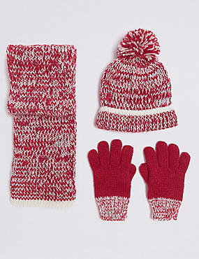 Kids' Hat & Scarf with Gloves Set, RED MIX, catlanding
