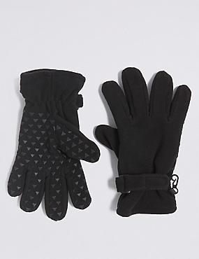 Kids' Fleece Gloves, BLACK, catlanding