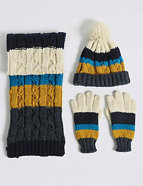 Kids' Striped Hat, Scarf & Gloves Set