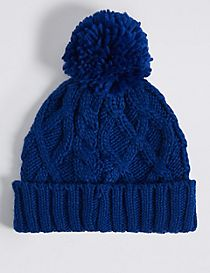 Kids' Cable Knit Pom-pom Hat