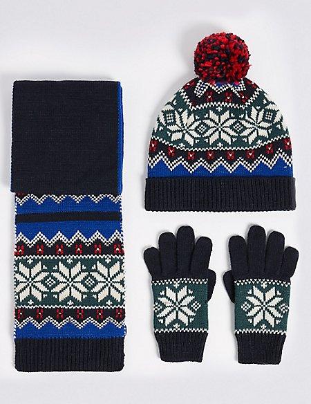 Kids' Fairisle Hat, Scarf & Gloves Set | M&S