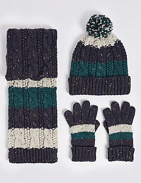 Kids' Striped Cable Knit Hat, Scarf & Gloves Set