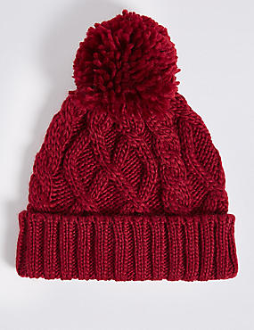 Kids' Pom-pom Cable Knit Hat