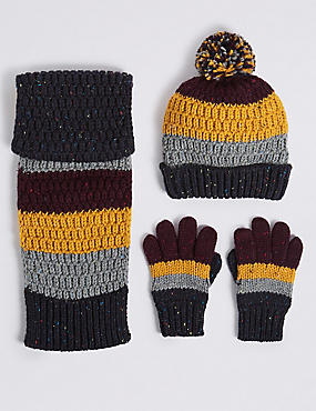 Kids' Hat & Scarf with Gloves Set, NAVY MIX, catlanding