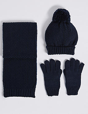 Kids' Hat & Scarf with Gloves Set, NAVY MIX, catlanding