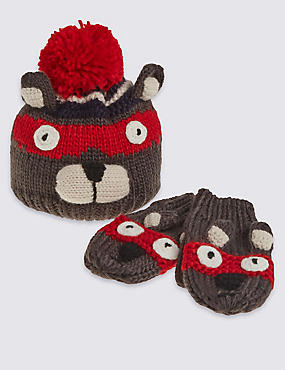 Kids' Bear Hat & Mittens