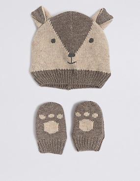 Baby Hat & Mittens Set, GREY MIX, catlanding