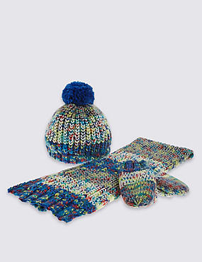 Kids' 3 Pack Hat, Scarf & Gloves Set