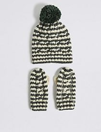 Kids' Pom-pom Hat & Mittens Set