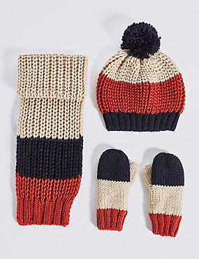 Kids' Striped Hat, Scarf & Mittens Set