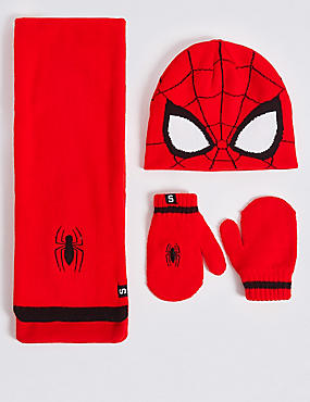 Kids' Spider-Man™ Hat, Scarf & Mittens Set, RED MIX, catlanding