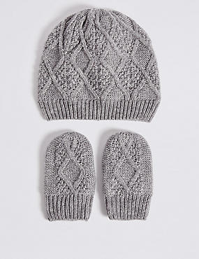 Baby Cable Knit Hat & Mittens Set