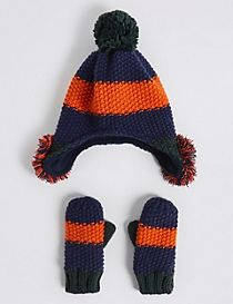 Kids' Novelty Pom-pom Trapper Hat & Mittens