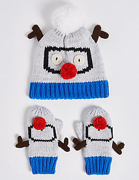Kids' Goggle Hat & Mittens Set