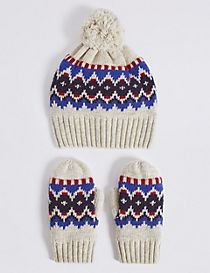Kids' Fairisle Hat & Mittens