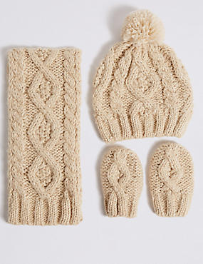 Kids' Cable Knit Hat, Scarf & Gloves Set