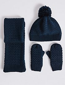 Kids' Hat,Scarf And Mittens Set
