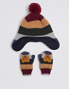 Kids' Novelty Trapper Hat & Mittens Set, MULTI, catlanding