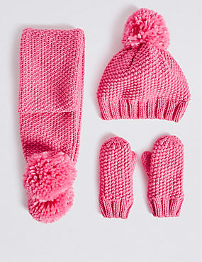 Kids' Hat, Scarf And Mittens Set