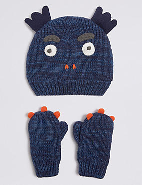 Kids' Hat & Mittens Set, BLUE MIX, catlanding