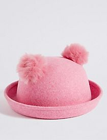Kids' Pure Wool Pom Pom Ears Hat