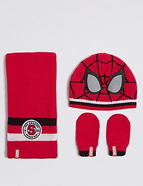 Kids' Spider-Man™ Hat & Scarf with Mittens Set, RED MIX, catlanding