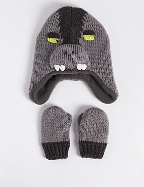 Kids' Monster Trapper Hat & Mittens Set, GREY MIX, catlanding