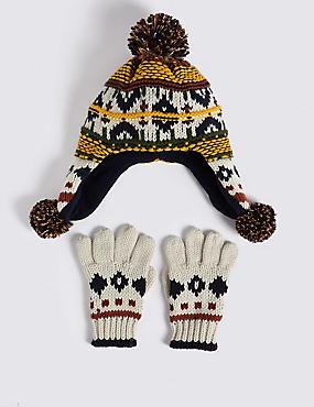 Kids' Fairisle Trapper Hat & Mittens Set, CREAM MIX, catlanding