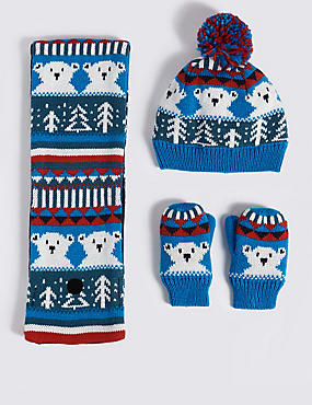 Kids' Hat & Scarf with Mittens Set, BLUE MIX, catlanding