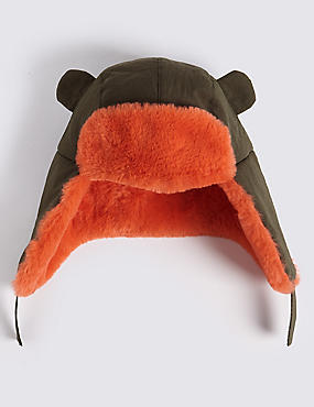 Kids' Faux Fur Trapper Hat, KHAKI MIX, catlanding