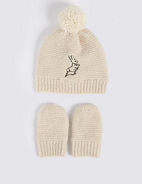 Baby Peter Rabbit™ Hat & Mittens Set, CREAM MIX, catlanding