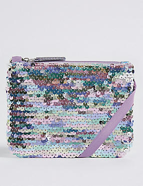 Kids' Faux Leather Sequin Phone Bag
