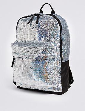 Kids' Sparkle Sequin Backpack, SILVER, catlanding