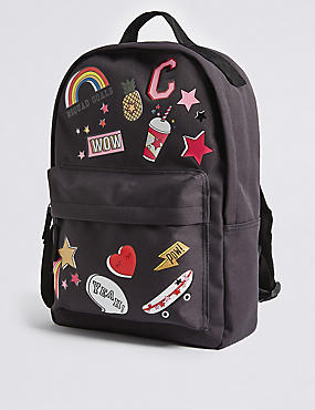 Kid's Badge Backpack, BLACK MIX, catlanding