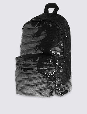 Kids' Sequin Backpack, BLACK, catlanding