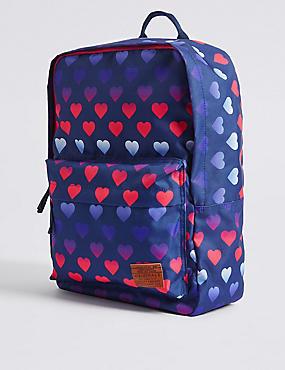 Kids' Heart Print Backpack, BLUE MIX, catlanding