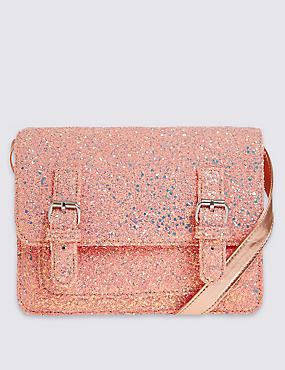 Kids' Faux Leather Glitter Satchel