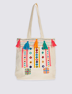 Kids' Pure Cotton Tassel Shopper Bag