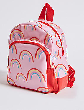 Kids' Rainbow Print Backpack, PINK MIX, catlanding
