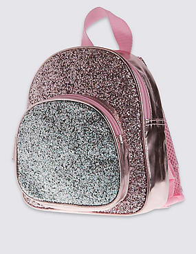 Kids' Faux Leather Glitter Rucksack Bag