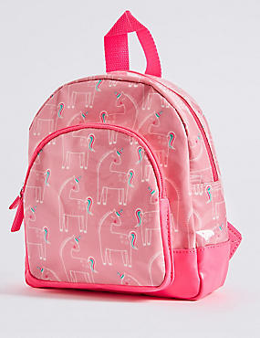 Kids' Faux Leather Unicorn Print Rucksack