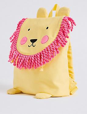 Kids' Pure Cotton Lion Tassel Backpack, YELLOW, catlanding