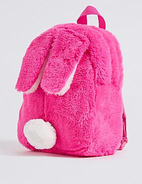 Kids' Faux Fur Bunny Backpack, PINK, catlanding