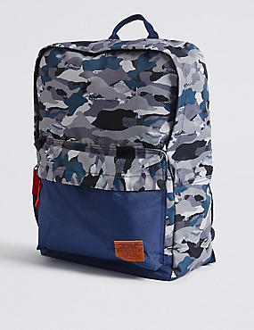 Kids' Camouflage Backpack, NAVY MIX, catlanding