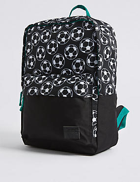 Kids' Football Print Backpack, BLACK MIX, catlanding