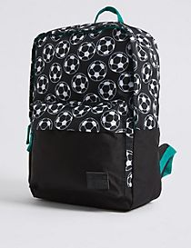 Kids' Football Print Rucksack